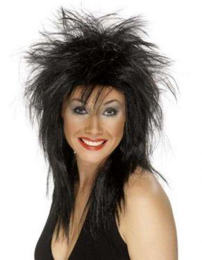 Ladies 1980's Black Rock Diva Fancy Dress Wig